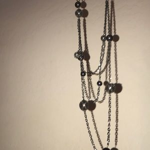 Long Necklace grey silver